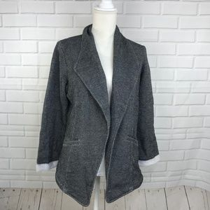 Matty M Knit Rolled Cuff Blazer Jacket Black Open